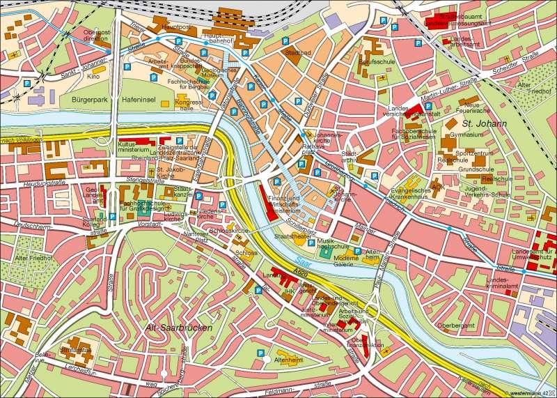 Landeshauptstadt Saarbrücken | Innenstadt | Saarland | Karte 13/1