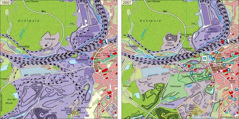 Industriestandort Neunkirchen 1980 und 2007      Saarland   Karte 13/2