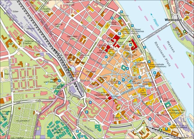 Diercke Weltatlas Kartenansicht Landeshauptstadt Mainz Innenstadt 978 3 14 100757 2 14 3 0