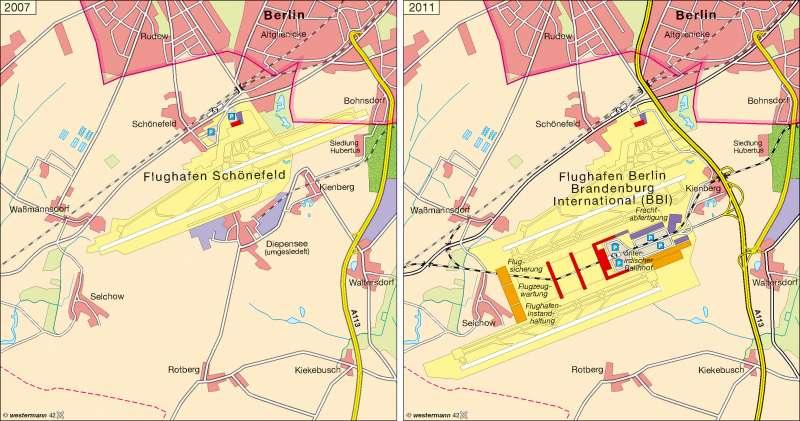 Flughafen Schönefeld | 2007/Planung 2011 | Flughafen Schönefeld | Karte 8/1