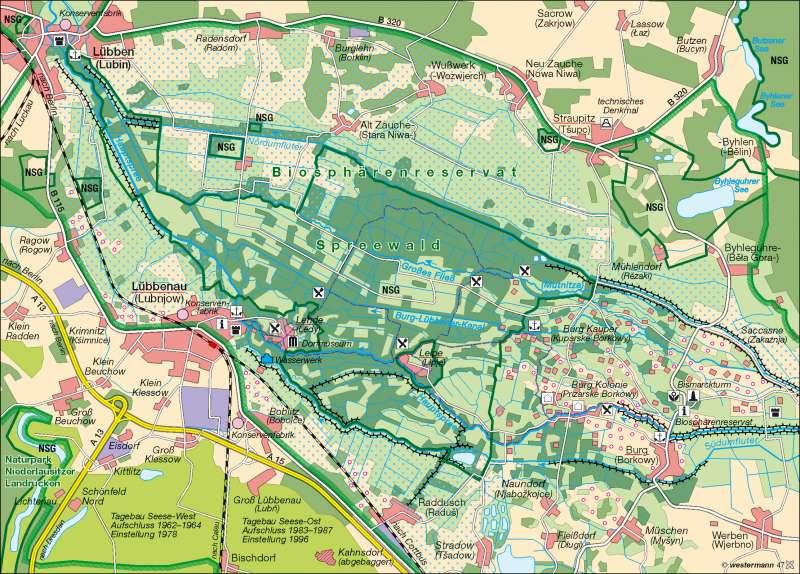 Biosphärenreservat Spreewald      Naturschutz   Karte 11/2