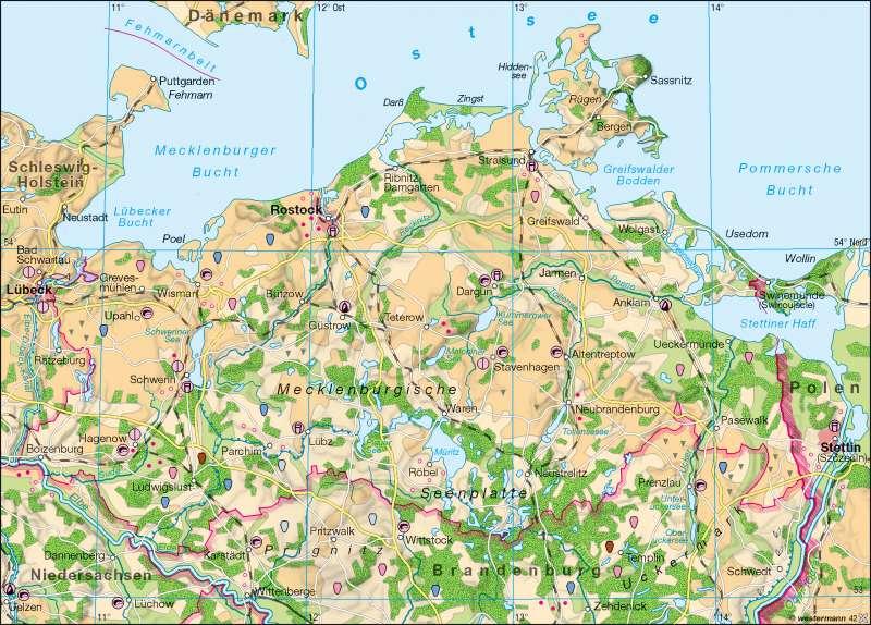 Mecklenburgische Seenplatte Kartenansicht.Diercke Weltatlas Kartenansicht Landwirtschaft 978 3 14