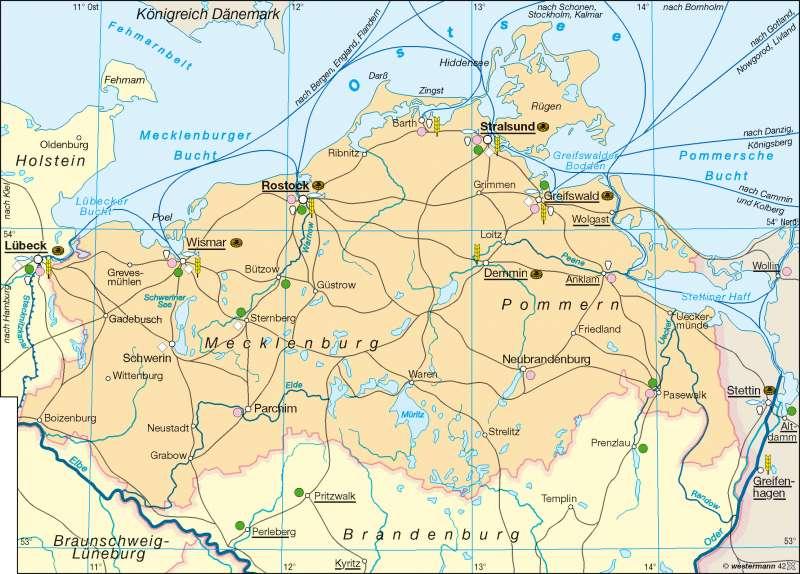 Die Ostseeküste zur Hansezeit |  | Hansezeit | Karte 12/1