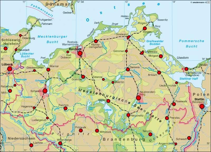 Mecklenburgische Seenplatte Kartenansicht.Diercke Weltatlas Kartenansicht Raumordnung 978 3 14 100759