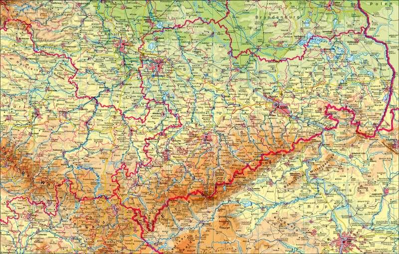 Sachsen physisch |  | Sachsen physisch | Karte 4/1