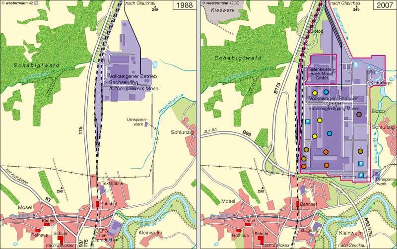 Zwickau-Mosel | Kraftfahrzeugbau 1968/2007 | Wirtschaft | Karte 8/2