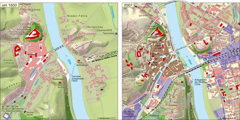 Meißen | Stadtentwicklung um 1850/2007 | Stadtentwicklung | Karte 11/3