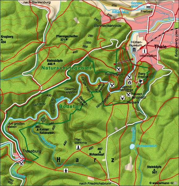 Bodetal | Wandergebiet | Tourismus | Karte 12/4