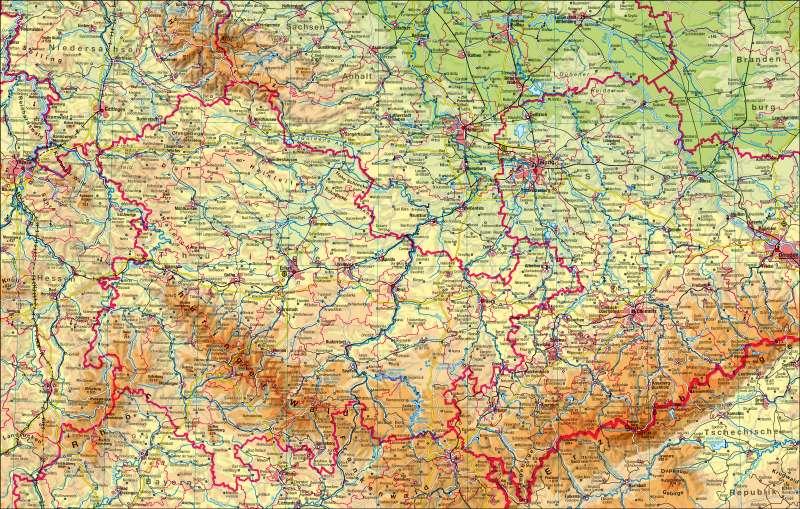 Karte Thüringen.Diercke Weltatlas Kartenansicht Thüringen Physisch 978 3 14