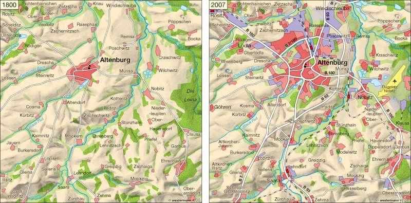 Altenburger Land | Nutzungswandel 1800 und 2007 | Raumordnung | Karte 10/2